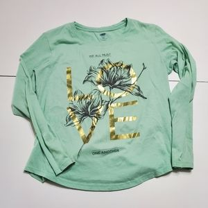 """Old Navy XL graphic long-sleeve tee Gold """"LOVE"""""""